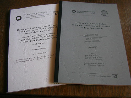 Bound copies of my Studienarbeit and Diplomarbeit