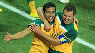 Tim Cahill and Lucas Neill