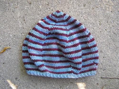 nautical striped tulip bulb hat - flat