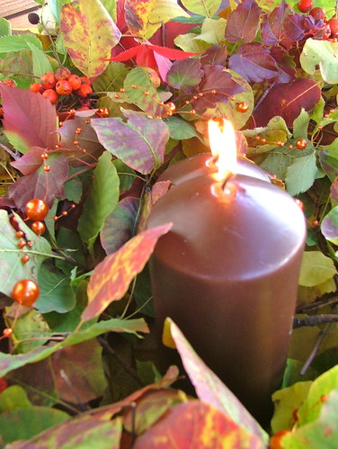brown  candle decoration