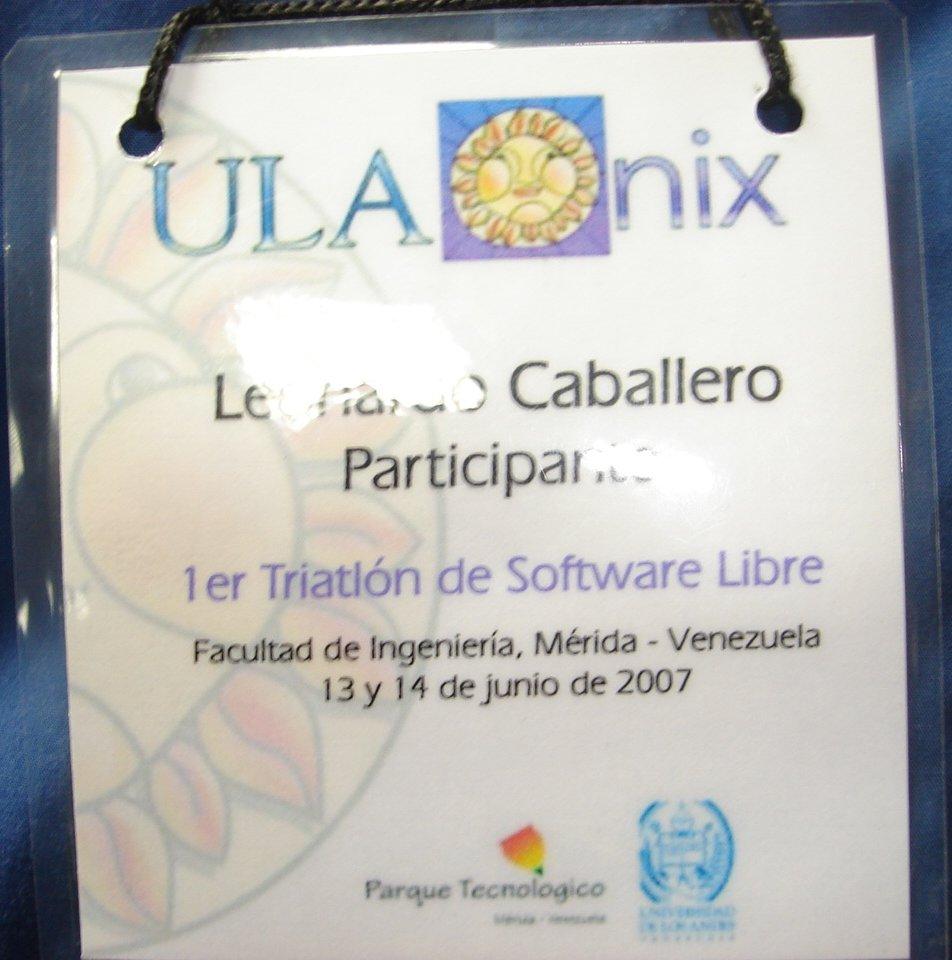 Este es mi carnet de participante del I Triatlón Regional de Software Libre en Mérida