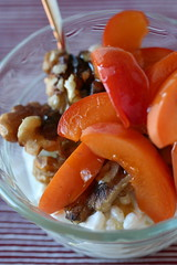 Cottage Cheese, Apricots, Walnuts, and Honey