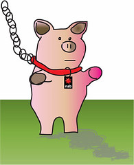 Piggybank on leash