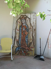 Retablo, Chair, Broom, on the back patio, Albuquerque, NM, photo © 2007 by QuoinMonkey. All rights reserved.