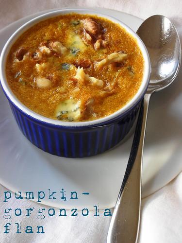 pumpkin-gorgonzola flan