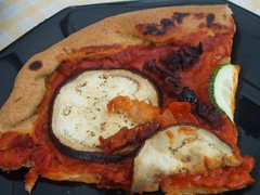 Pizza with courgette, aubergine and sundried tomatoes