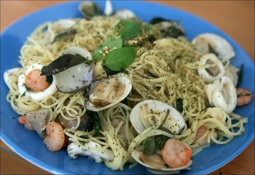 pasta with shrimp, clams, mushrooms, and squid