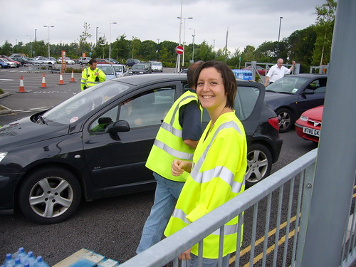 Cheltenham Borough Council staff helping distribute bottled water at B&Q - service with a smile :)