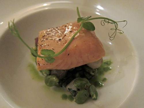 "Salmon Poached in Olive Oil, Peas ""Bonne Femme"""
