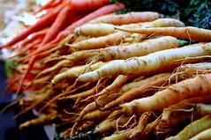 orange and white carrots