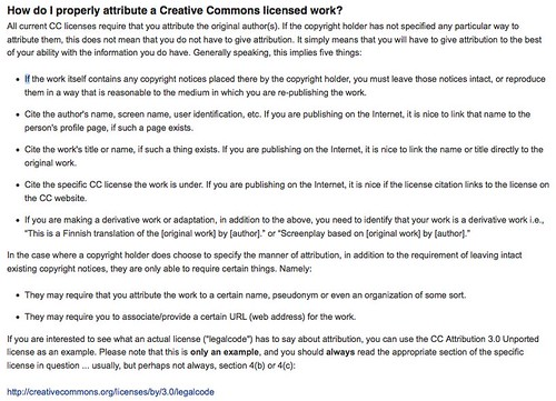 FFAQ - CC Wiki: How do I properly attribute a Creative Commons licensed work?
