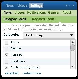 DiggTop: Settings