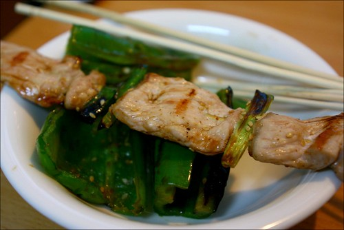 barbecued pork and green bell peppers