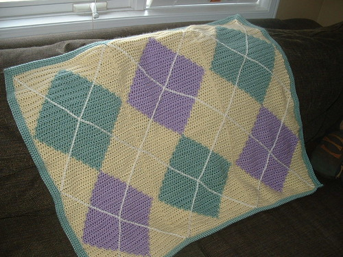 Pretty argyle styled crochet blanket!