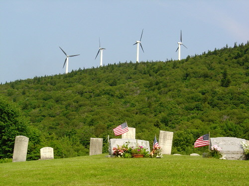 Windmills near cemetery