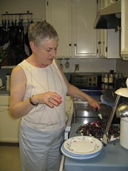 Jane digs into the cake she made at her cooking class