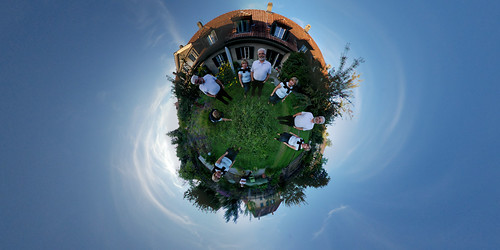 My parents in front of their new house - Little planet