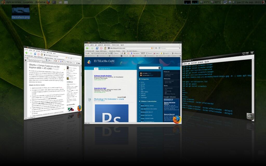 Mi escritorio con Compiz Fusion y ATI