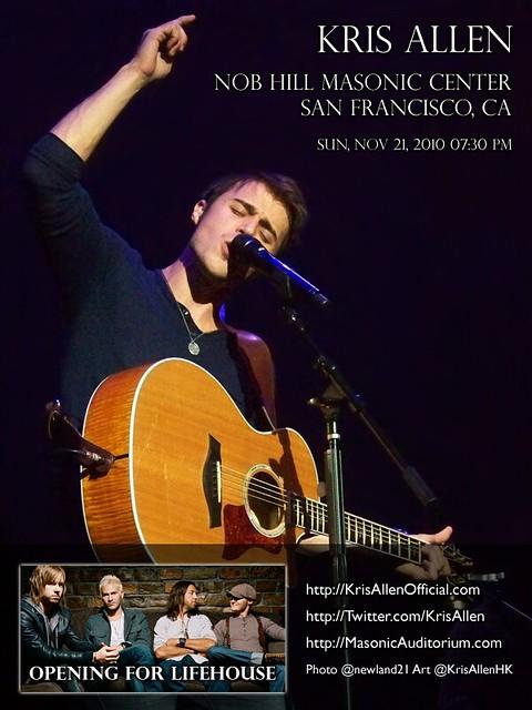 Kris Allen Promo Art - Nob Hill Masonic Center, San Francisco, CA