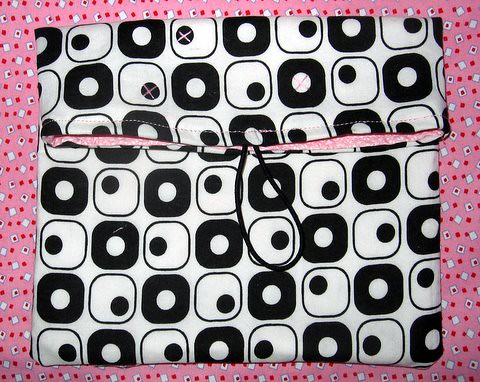 Pink & black artsy clutch - unfinished