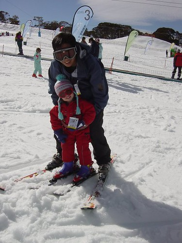 Daddy and Bethany skiing