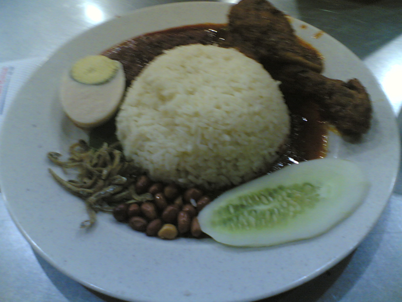 Nasi Lemak w/ Chicken Rendang