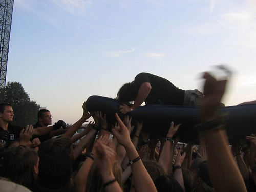 crowdsurfing on an air mattress