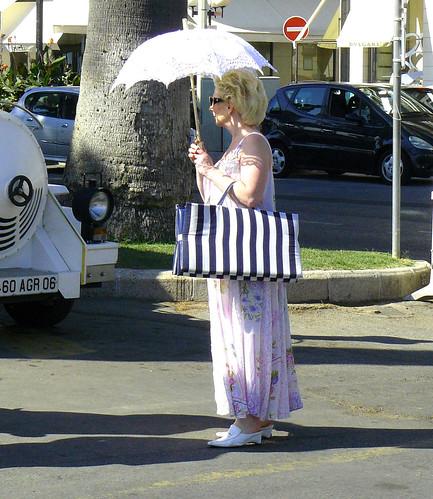 with a white umbrella