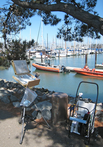 Plein air set up at Berkeley Marina