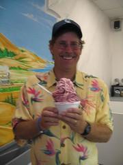 John's frozen yogurt with blackberries and Twix from Sweet Retreat
