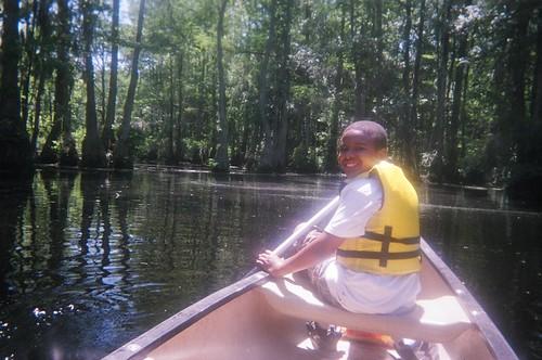 Canoeing Merchant's Millpond - Vicky and Tyrek's Boat - Tyrek