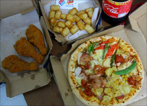 pizza, fried chicken, tots, coca-cola