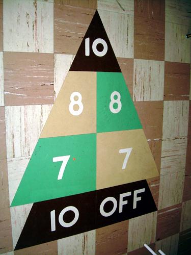 Estate sale basement: shuffleboard close-up