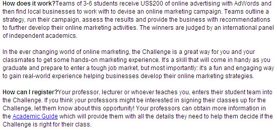 Google Online Marketing Challenge
