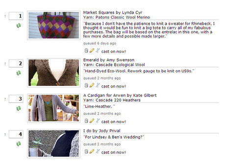 Screenshot of my Ravelry Queue