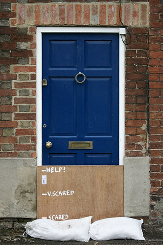 door in osney mead, oxford, during floods
