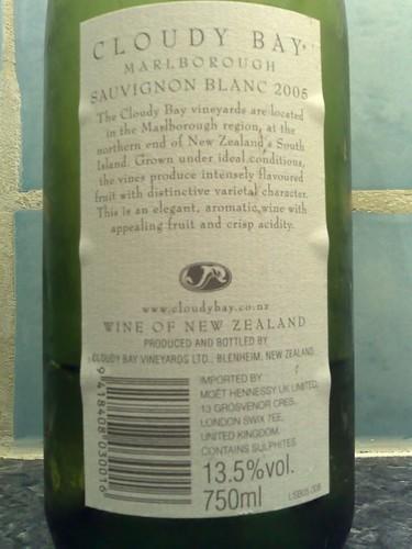 Cloudy Bay Sauvignon Blanc 2005 back label