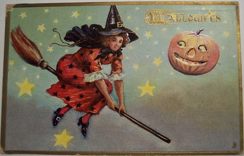Vintage Halloween Postcard Tuck 183 Witch on Broom by riptheskull.