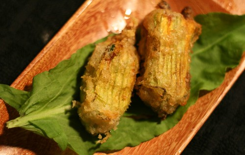 Tempura-style stuffed pumpkin blossoms