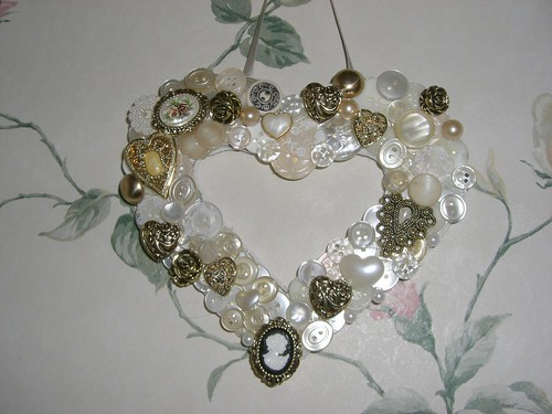 Heart button wreath