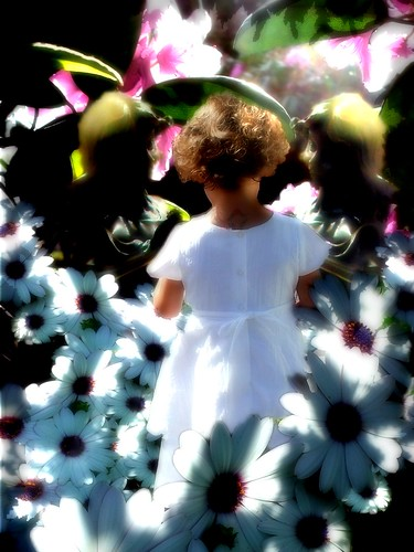 maya in a fantasy of daisies with imaginary friends