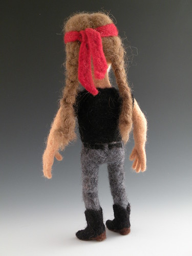 Needle Felted Willie Nelson Rear View