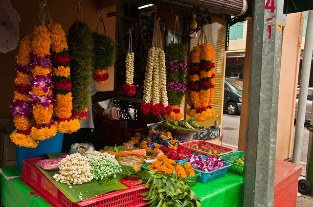 Garland shop in Little India