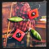 LLROVE orecchini verdi rossi mop green red earrings 1129