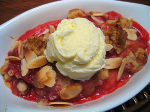 plum & raspberry crisp a la mode (vanilla buttermilk ice cream)