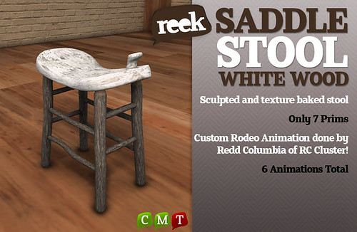 Reek - Saddle Stool - White Wood Ad