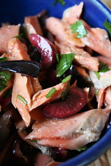 Salmon Salad with Cherries and Olives