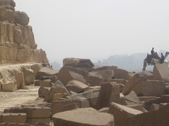 looking into giza from the pyramid of khafre