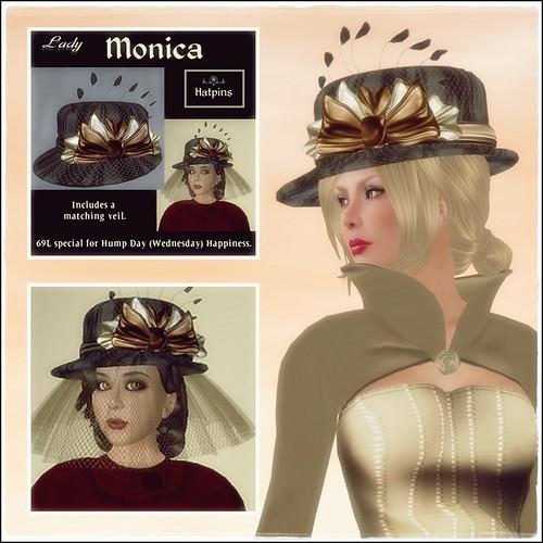 Hatpins - Lady Monica - Black and Liquid Metals - HDH