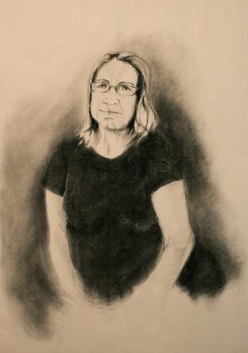 self portrait on newsprint